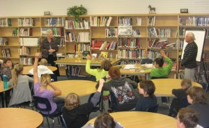 Larry and Constance in Medicine Hat(October 2011) on a school tour with the Young Alberta Book Society.