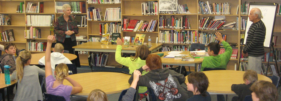 Larry and Constance in Medicine Hat (October 2011) on a school tour with the Young Alberta Book Society....