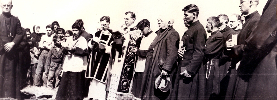Larry Loyie, altar boy on left, St. Bernard Mission residential school, Grouard, AB......